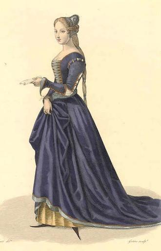 Женский костюм: парчовое платье с рукавами-бур В 16 веке, каждый...