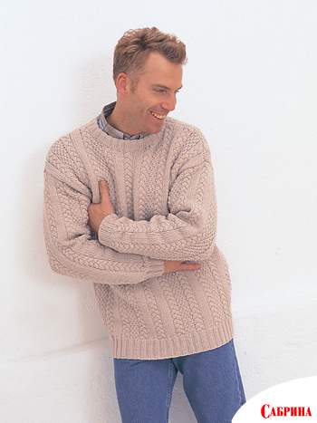 мужской пуловер спицами схема - Мода