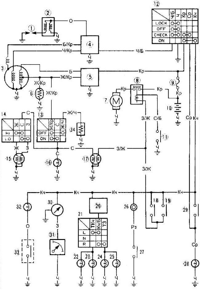 ...генератор 4- прерыватель 5- выпрямитель 6- пусковой обогатитель 7- электродвигатель стартера 8- реле стартера 9...