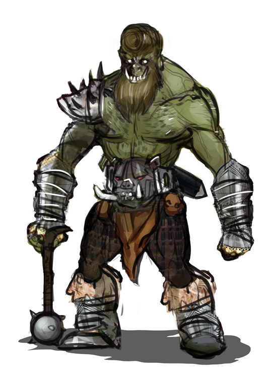 I am an orc, we eat with spoons and forks, we love to eat our pork